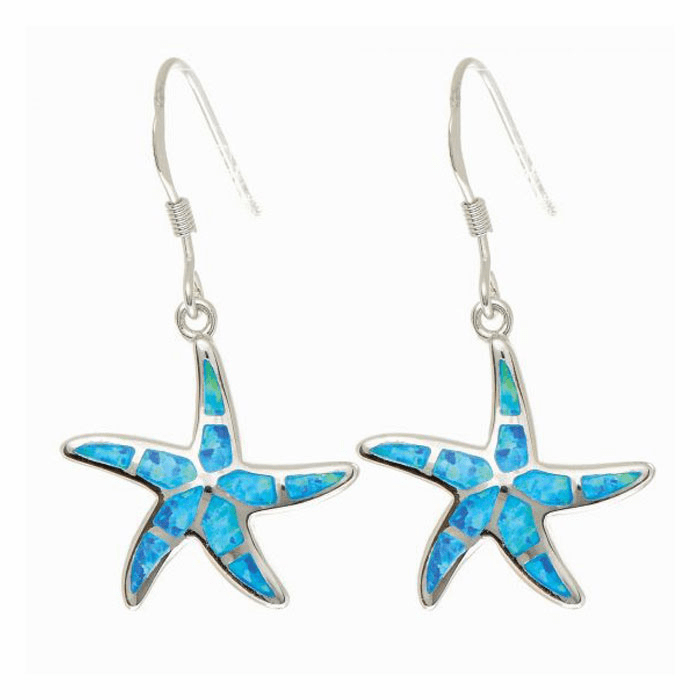 Silver with Rhodium Finish Shiny Textured Opal Star Fish Drop Earring
