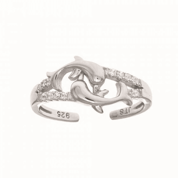 Silver with Rhodium Finish White CZ 2- Dolphin Top Fancy Toe Ring