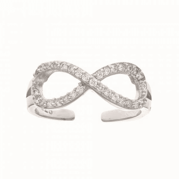 Silver with Rhodium Finish White CZ Infinity Top Fancy Toe Ring