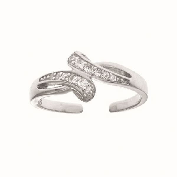 Silver with Rhodium Finish White CZ Loop Type Fancy Toe Ring