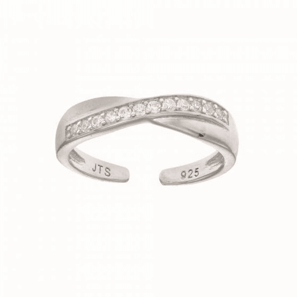 "Silver with Rhodium Finish White CZ ""X "" Type Top Fancy Toe Ring"