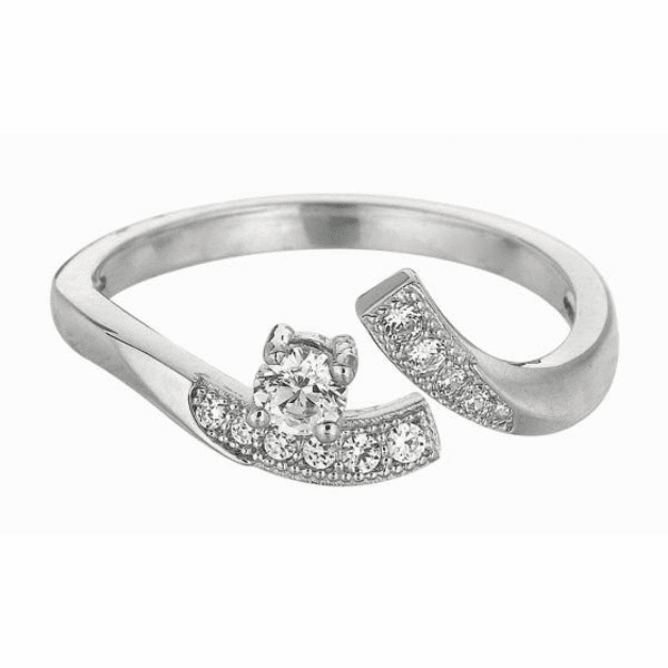 Silver with Rhodium Shiny By Pass Like Toe Ring with White CZ -AGTR163