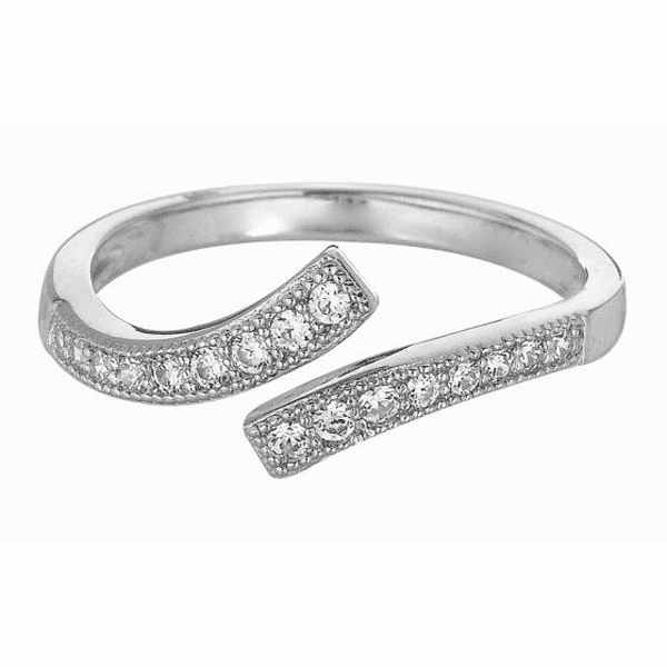 Silver with Rhodium Shiny By Pass Like Toe Ring with White CZ -AGTR164