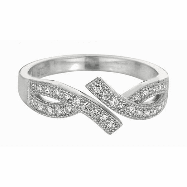 Silver with Rhodium Shiny By Pass Like Toe Ring with White CZ -AGTR170