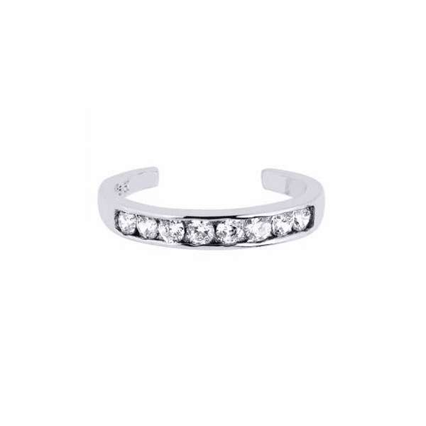 Silver with Rhodium Shiny Cuff Type Toe Ring with White CZ -AGTR100
