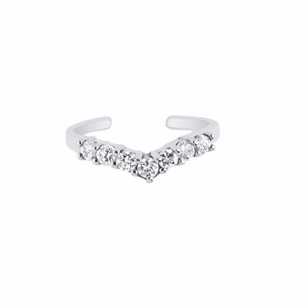 Silver with Rhodium Shiny Cuff Type Toe Ring with White CZ -AGTR101