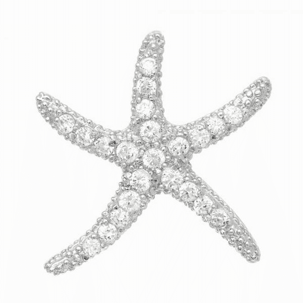 Silver with Rhodium Shiny Starfish Pendant with White CZ -AGCH492