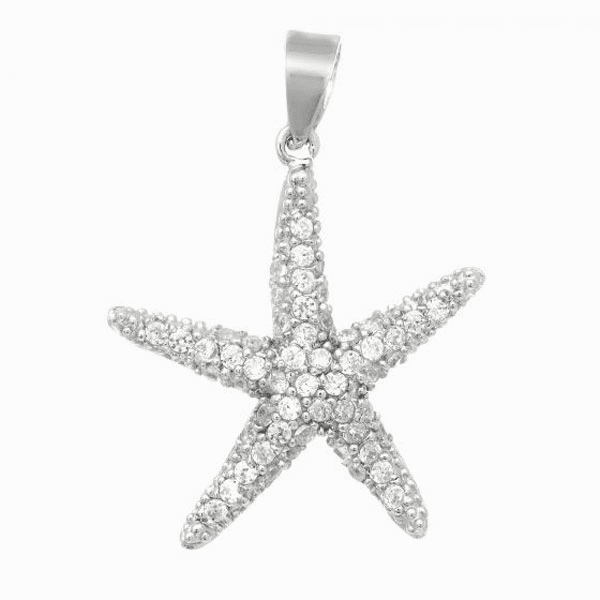 Silver with Rhodium Shiny Starfish Pendant with White CZ -AGCH493
