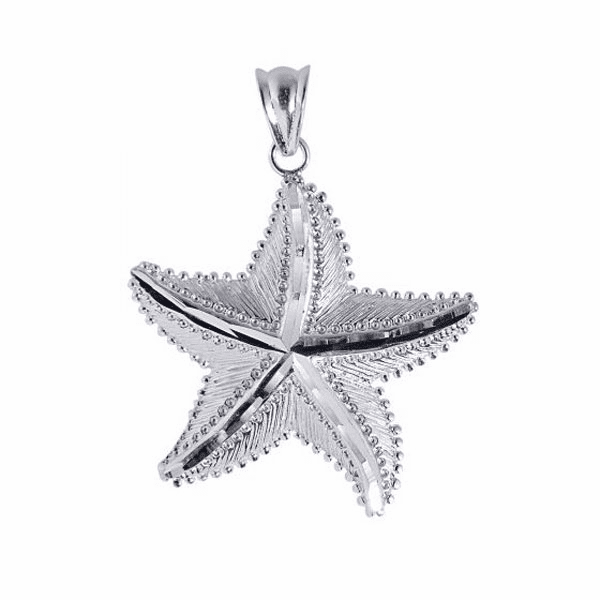 Silver with Rhodium Shiny Textured Starfish Sea Life Pendant-AGCH123