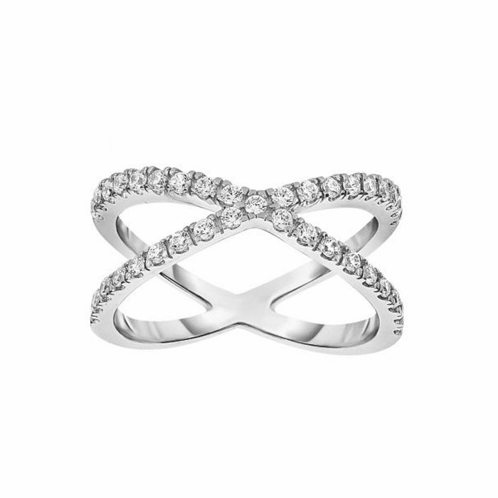 """Silver with Rhodium White CZ Double Row """"X"""" Type Fancy Size 07 Ring"""