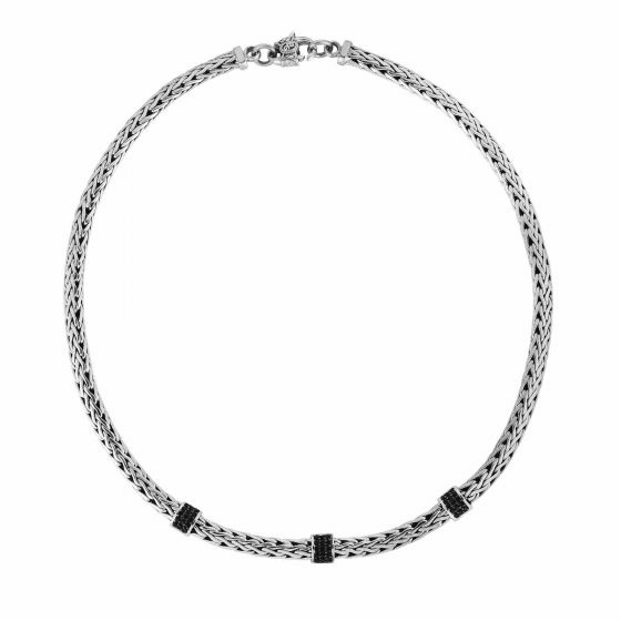Silver Woven 17 Inch Necklace with three stations Of Black Sapphires