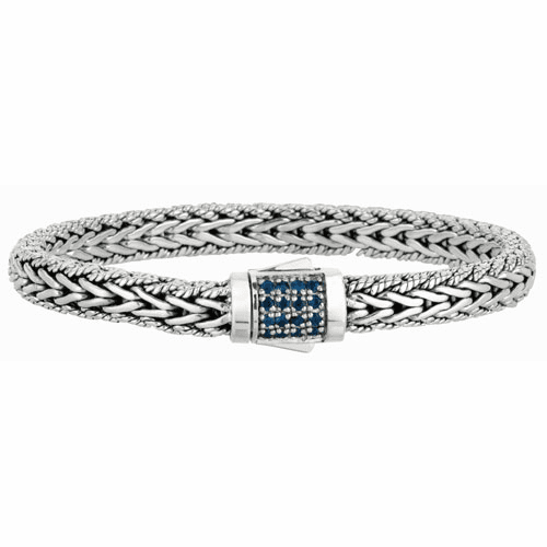 Silver Woven Bracelet with Box Clasp with Blue Sapphires