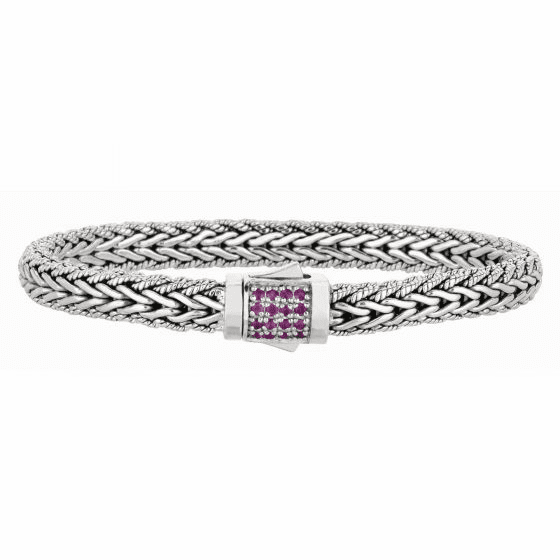 Silver Woven Bracelet with Box Clasp with Pink Sapphires