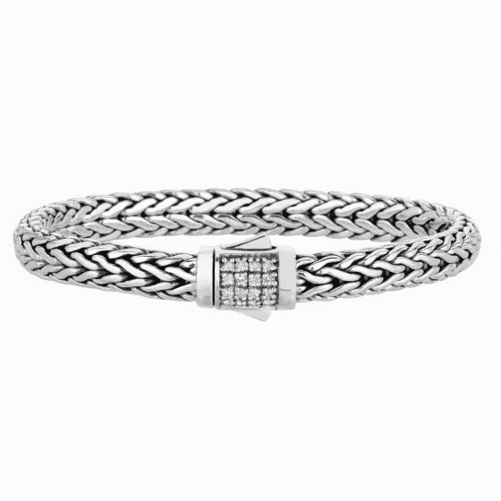 Silver Woven Bracelet with Box Clasp with White Sapphires