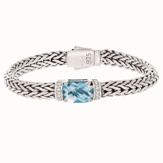 Silver Woven Bracelet with Cushion Blue Topaz and White Sapphires