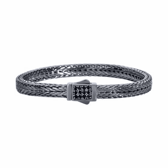 Silver Woven Bracelet with Square Box Clasp with Black Sapphires
