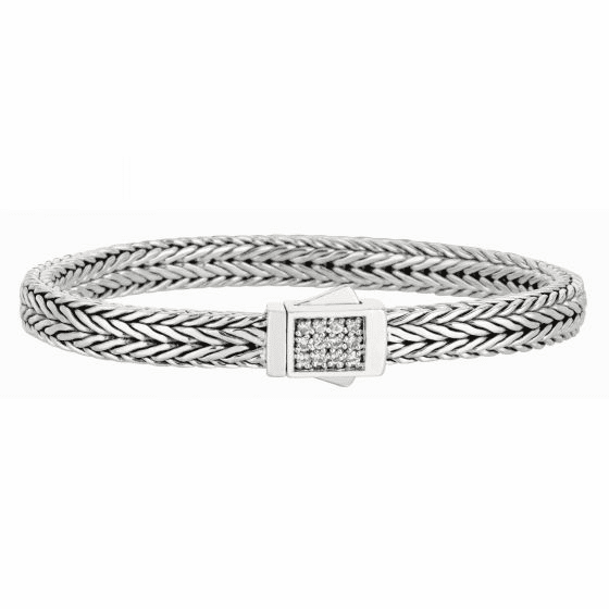 Silver Woven Bracelet with Square Box Clasp with White Sapphires