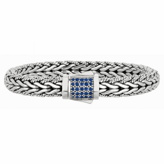 Silver Woven Wide Bracelet with Box Clasp with Blue Sapphires