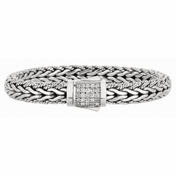 Silver Woven Wide Bracelet with Box Clasp with White Sapphires