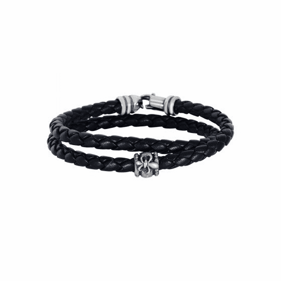 Silver Wrap Around Woven Black Leather Bracelet