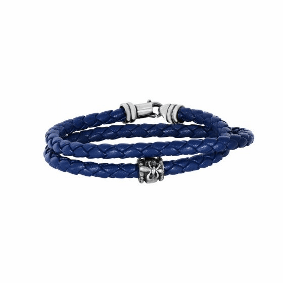 Silver Wrap Around Woven Blue Leather Bracelet