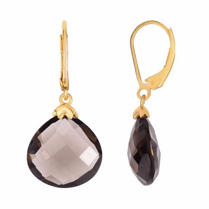 Silver/Yellow 15mm Faceted Smokey Quartz Teardrop Leverback Earring