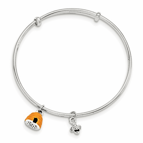 Silver Yellow & Black Enamel Bee And Beehive Kid's Bangle Qb888