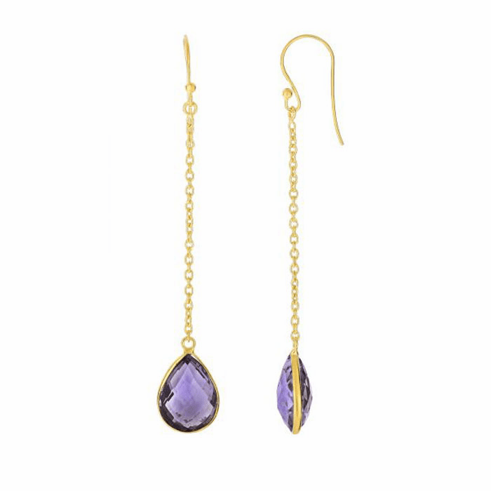 Silver/Yellow Drop Earring with Euro Wire Clasp with Amethyst-Brolite