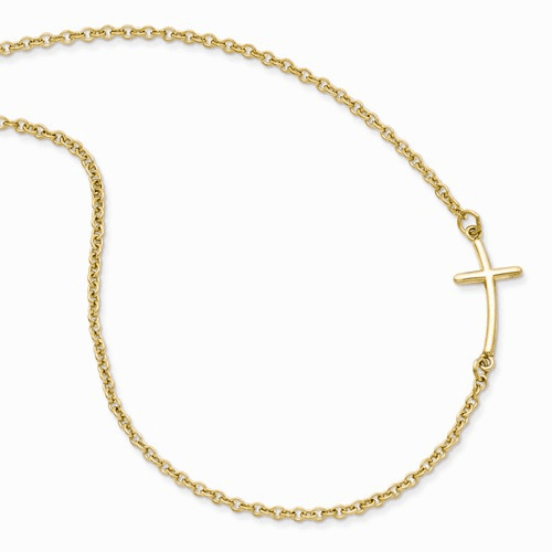 Silver Yellow Gold-plated Small Sideways Curved Cross Necklace