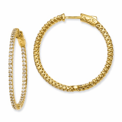 Silver Yellow-plated Cz In And Out Hinged Hoop Earrings