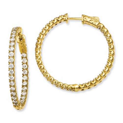 Silver Yellow-plated Cz In And Out Round Hoop Earrings