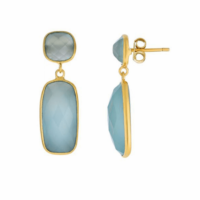 Silver/Yellow Shiny Drop Earring with Aqua Chalcedony-Checker