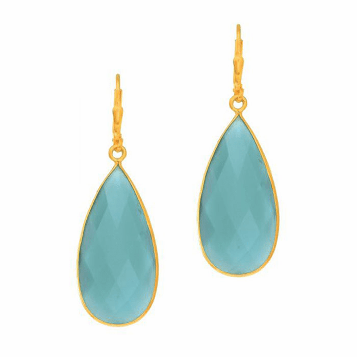 Silver/Yellow Tear Drop Earring with Brolite Aqua Chalcedony