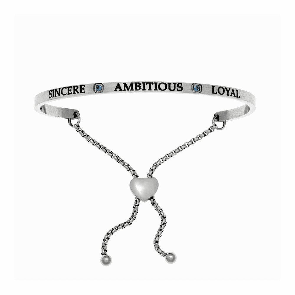 Sincere Ambitious Loyal Adjustable Bangle - Stainless Steel