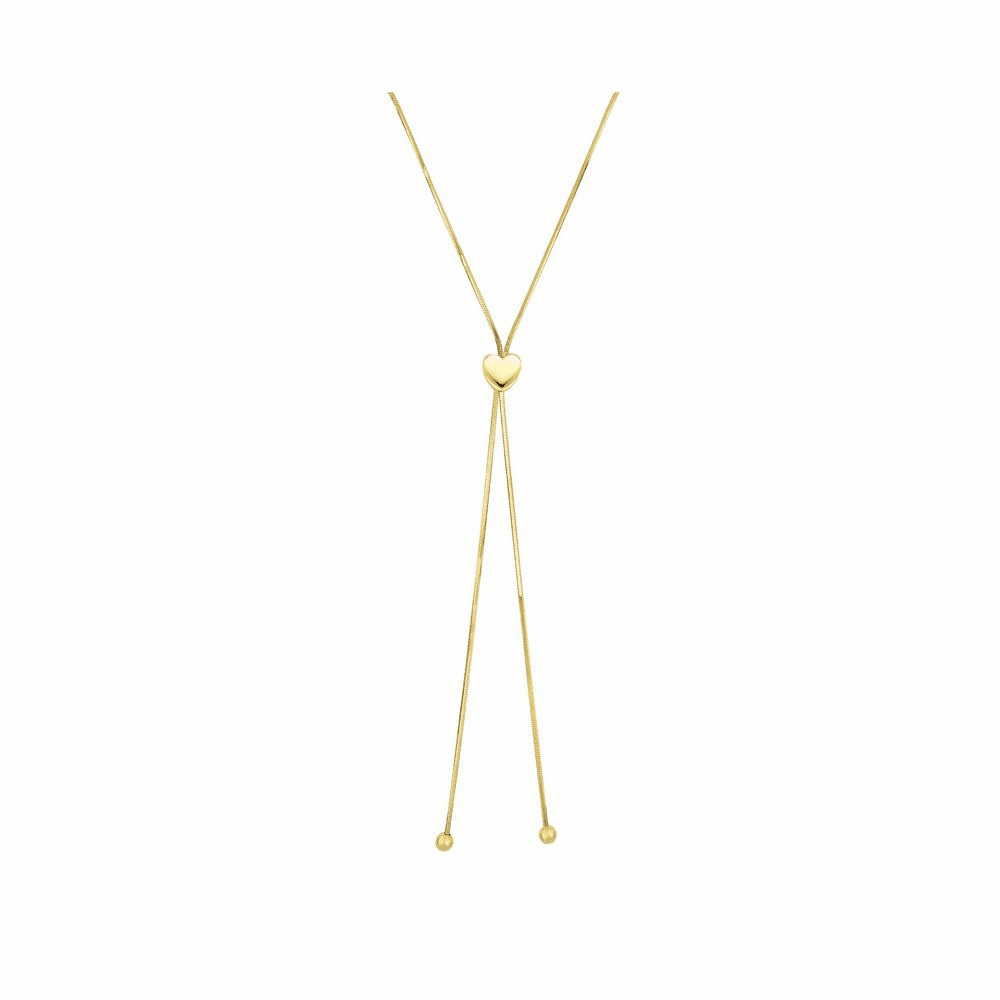 Snake Chain Lariat Type Necklace - 14K Yellow Gold 24 Inch