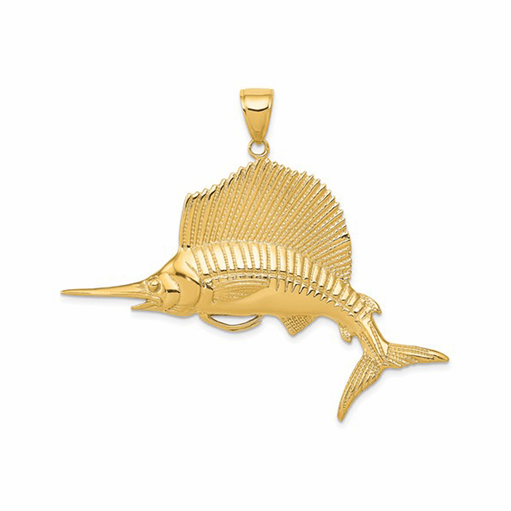 Solid and Casted Sailfish Pendant - 14K Yellow Gold