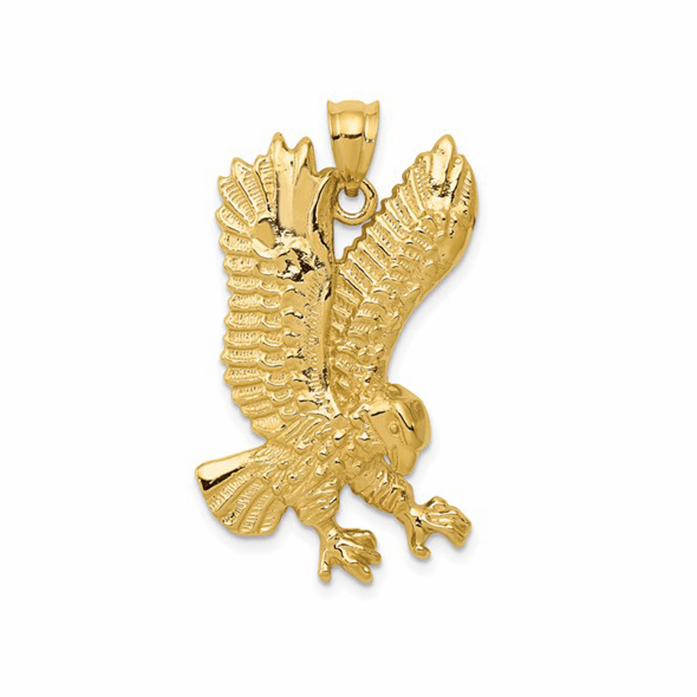 Solid and Polished Eagle Pendant - 14K Yellow Gold