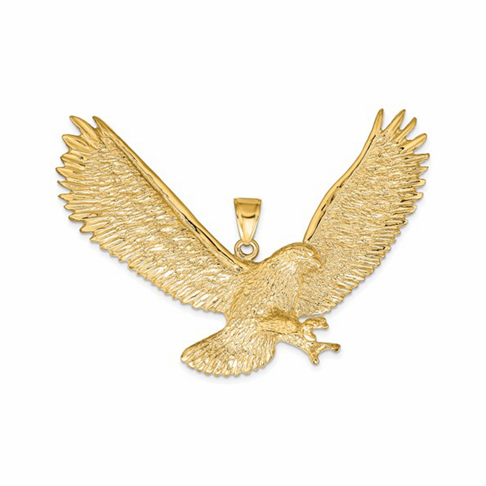 Solid Eagle Pendant - 14K Yellow Gold