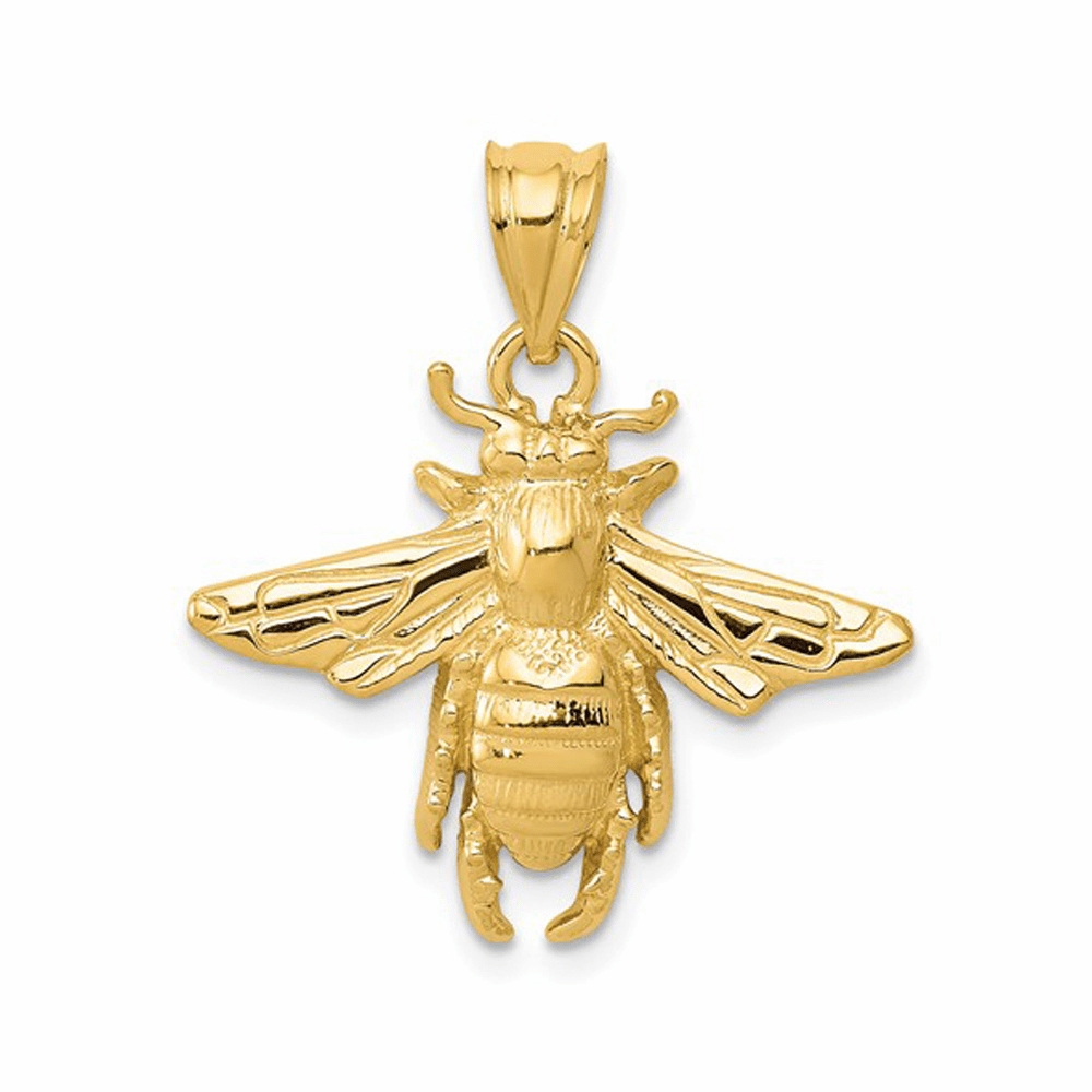 Solid Open-Backed Bee Pendant - 14K Yellow Gold