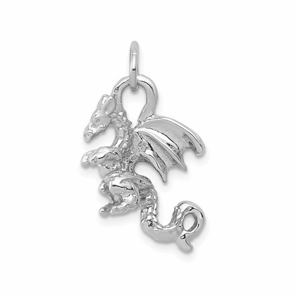 Solid Polished 3-Dimensional Dragon Charm - 14K White Gold