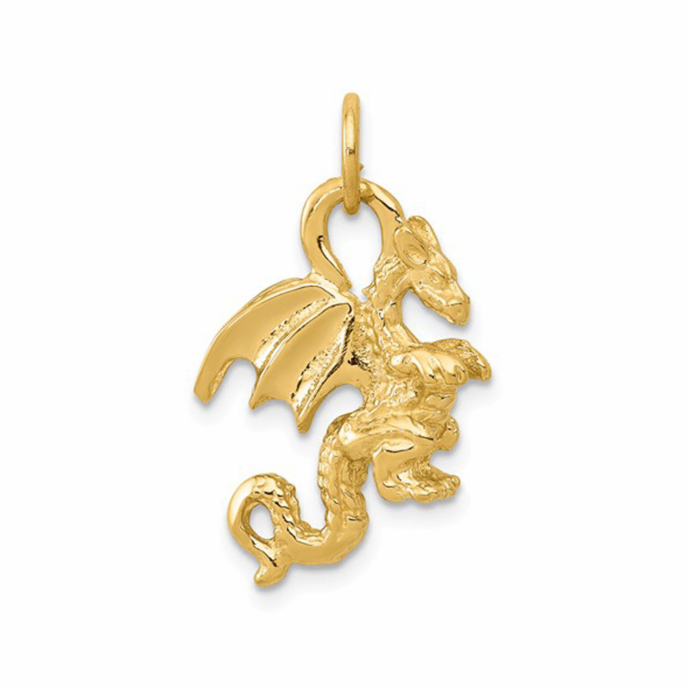 Solid Polished 3-Dimensional Dragon Charm - 14K Yellow Gold