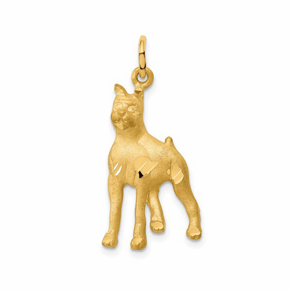 Solid Polished Boxer Charm - 14K Yellow Gold