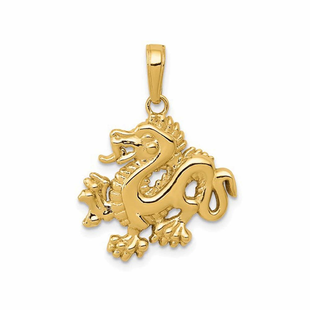 Solid Polished Dragon Pendant - 14K Yellow Gold