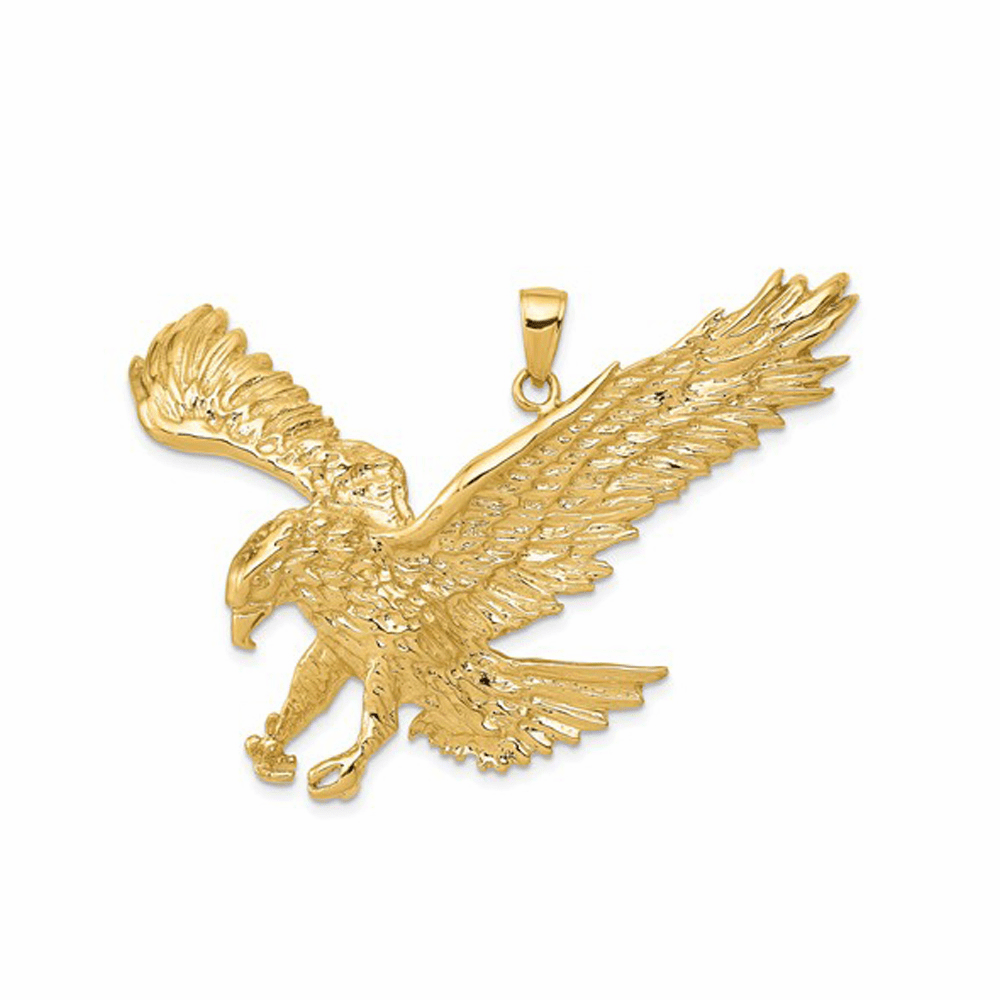 Solid Polished Eagle Pendant - 14K Yellow Gold