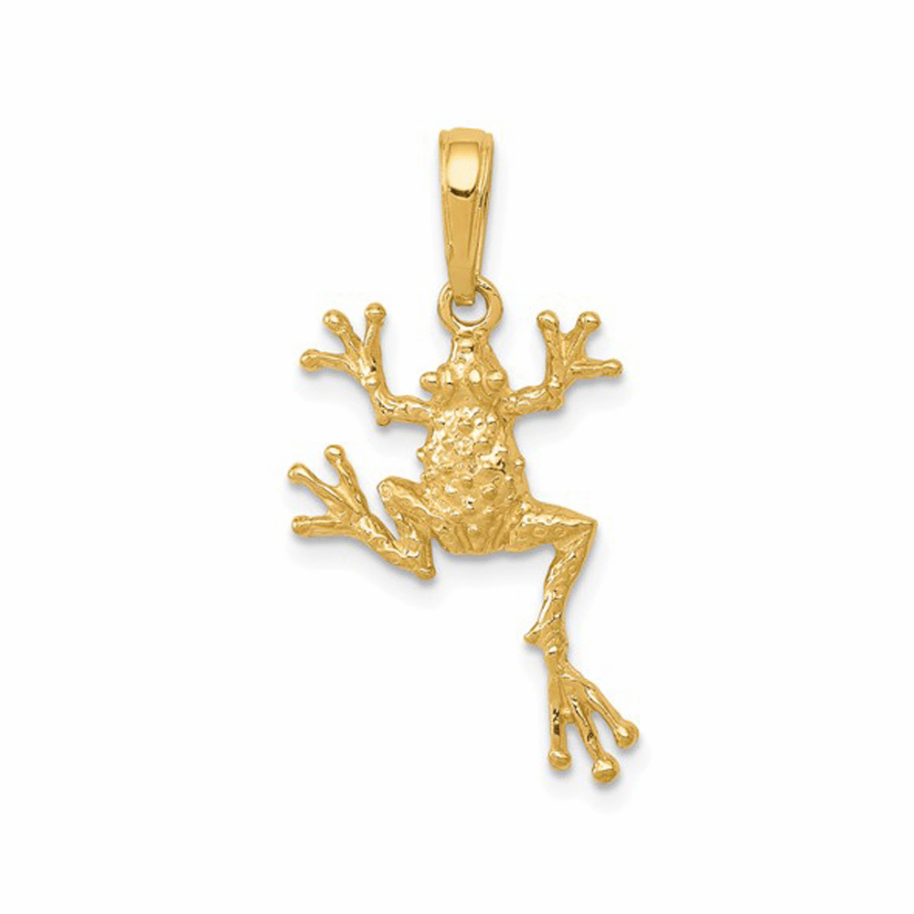 Solid Polished Open-Backed Frog Pendant - 14K Yellow Gold