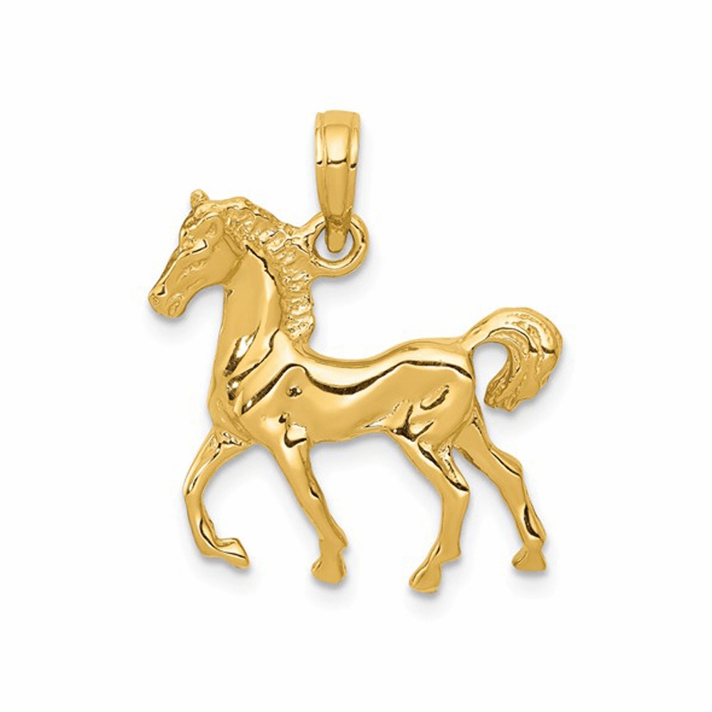 Solid Polished Open-Backed Horse Pendant - 14K Yellow Gold