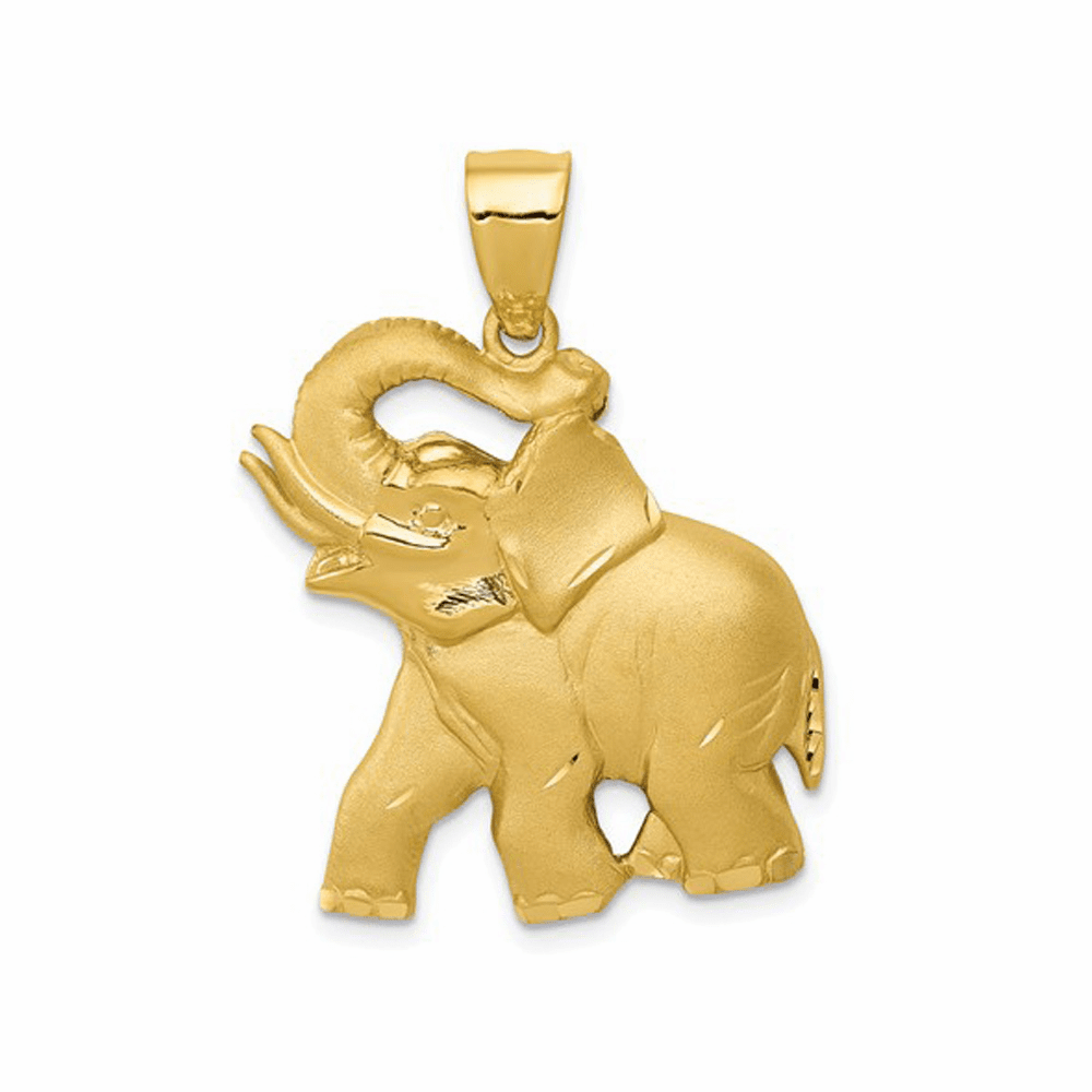 Solid Satin Diamond-Cut Open-Backed Elephant Pendant - 14K Yellow Gold