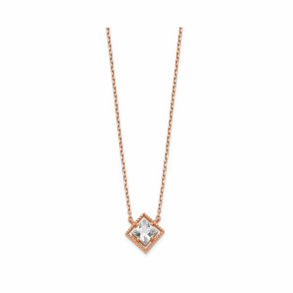 Square CZ Extension Necklace - 14K Rose Gold 15 Inch