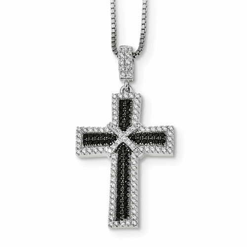 Ss Black & White Brilliant Embers Polished Cross Necklace Qmp1316-18
