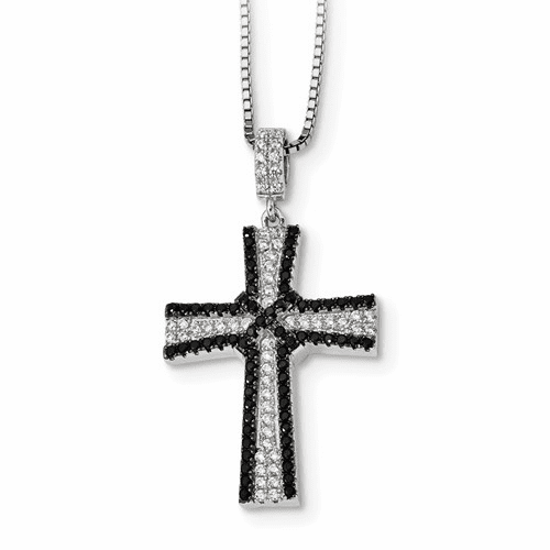 Ss Black & White Cz Brilliant Embers Cross Necklace Qmp1315-18